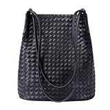 Bucket Bags Womens Leather Handbags Purse Woven Totes Hobos Shoulder Bags,Black