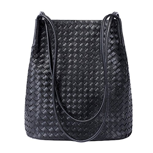 Black Leather Hobo Bag Woven - Bucket Bags Womens Leather Handbags Purse Woven Totes Hobos Shoulder Bags,Black