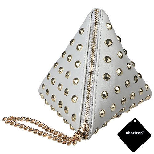 xhorizon TM SR Women PU Leather Rivet Studded Triangle Purse Wristlet Clutch Wallet Handbag
