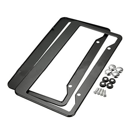 2 Pcs Stainless Steel Car License Plate Frame Tag Cover Braket /& Screws
