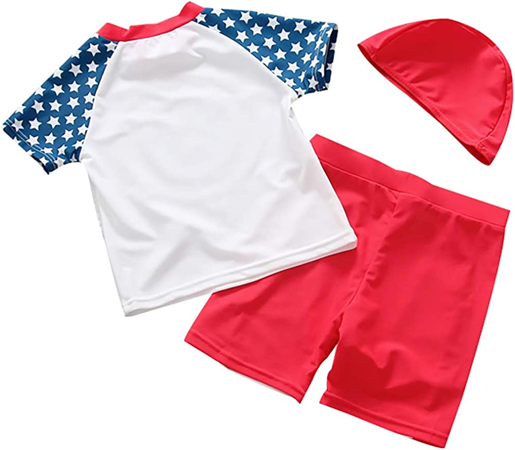 Baby Toddler Boys 2PCS Swimwear Short Sleeve Swimsuits Sun Protection UPF50 Rash Guard Bathing Suits