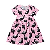 Kobay Baby Girl Short Sleeve Dinosaur Printing Party Fancy Dress,Toddler Kid Summer Cute Casual Outfits Clothes Suitable for 2-6Years Old Baby (Pink, 5Years/120)