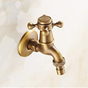 Tap Carved Wall Mount Bibcock Brass Retro Tap Decorative Outdoor Garden Taps Washing Machine Mop Luxury Antique Wc Faucet