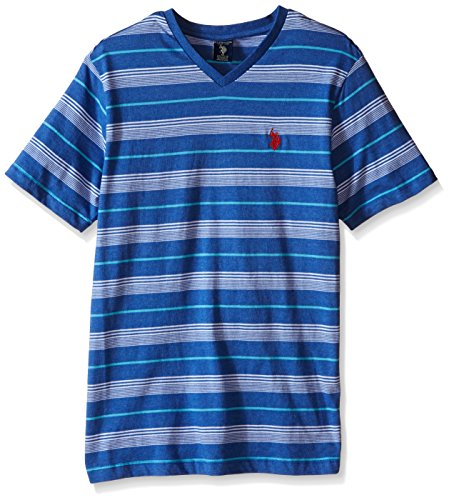 U.S. Polo Assn. Men's Multi Color Shadow Striped V-Neck T-Shirt