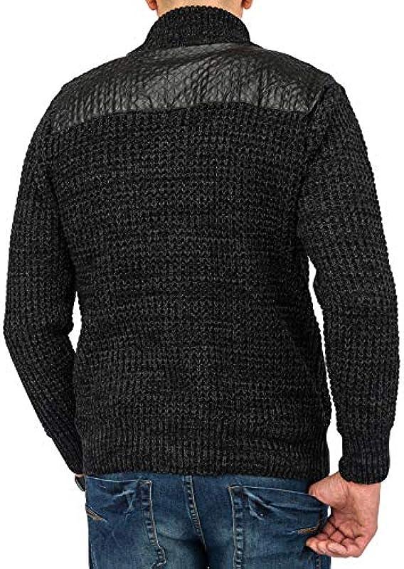 Kurtka męska kurtka do robienia na drutach · (regular Fit) Cardigan wykonana z miękkiej Chunky, swetry, z rząd guzikÓw i kołnierzykiem · h1647 W markowej jakości - s czarny: Odzież