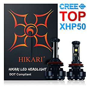 HIKARI LED Headlight Bulbs Conversion Kit -H11(H8,H9),CREE XHP50 9600lm 6K Cool White,2 Yr Warranty