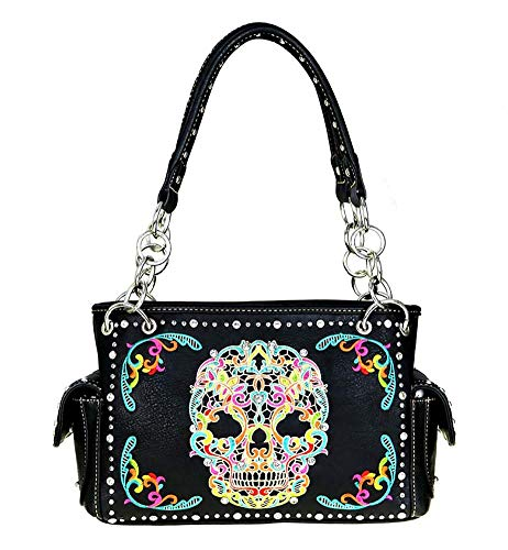 Montana West Concealed Carry Satchel Sugar Skull Collection MW494G-8085 Black Multi ()
