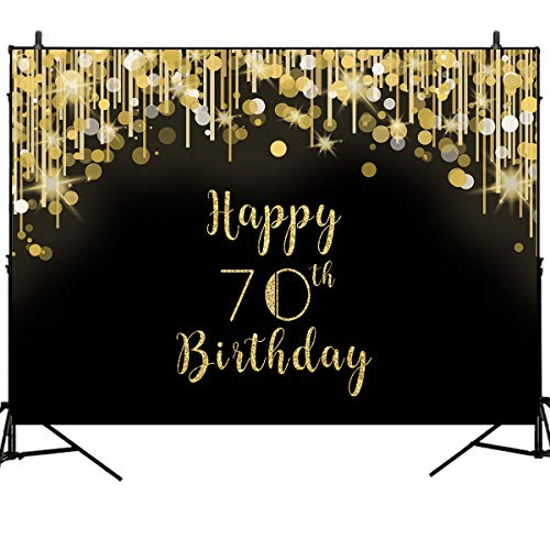 Mehofoto Happy 70th Birthday Backdrop Gold and Black Spot Photo Studio Booth Background 8x6ft Vinyl 70th Birthday Party Banner for Photography, Party Photoshoot Supplies -