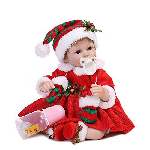 (Lifelike Reborn Baby Dolls 18 inch Reborn Dolls Girl Soft Silicone Vinyl Newborn Baby Toddler with Xmas Clothes)
