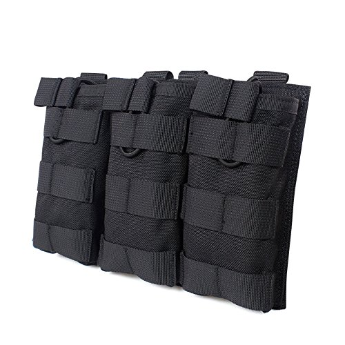 System M4 Double Mag Pouch - OUTRY M4 M16 AR-15 Type Magazine Pouch Mag Holder - Triple/Double / Single Airsoft MOLLE Mag Pouch - Open Top Version - Triple - Black