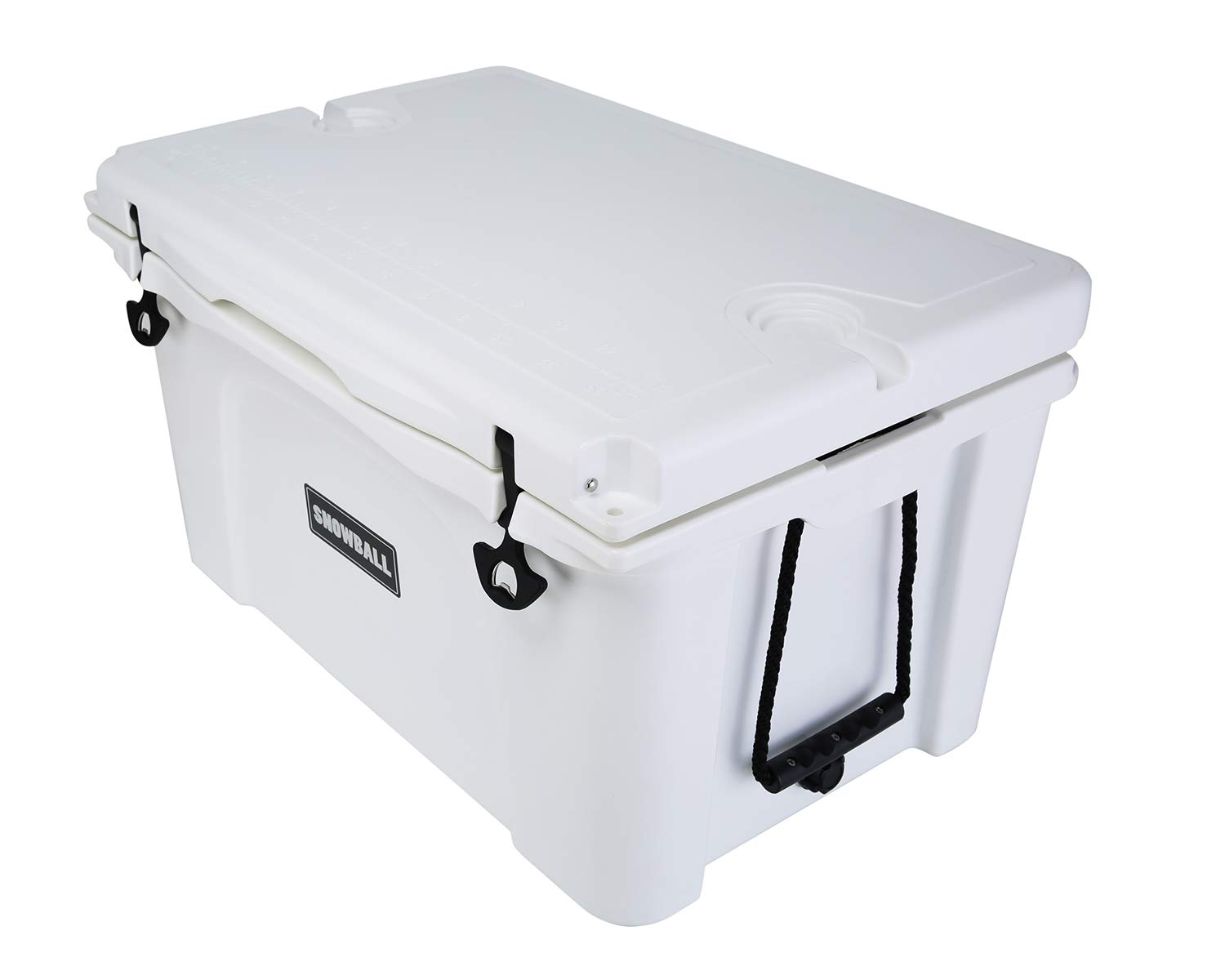White 53QT Snowball Rotomolded Cooler with Bottle Holder and Latch Opener Insulation Ice Chest 50L