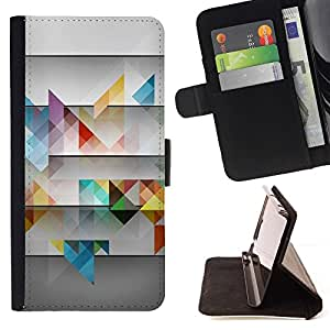 Momo Phone Case / Flip Funda de Cuero Case Cover - Rayas del trullo 3D Patrón Grey Art - LG G4 Stylus H540