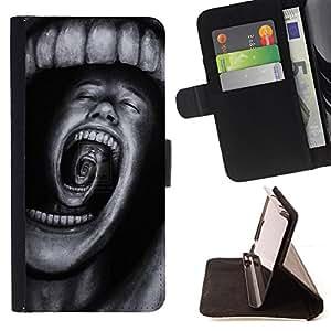 HORROR TERROR BLACK SCREAM TEETH SPOOKY/ Personalizada del estilo del dise???¡Ào de la PU Caso de encargo del cuero del tir????n del soporte d - Cao - For Samsung ALPHA G850