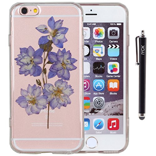 iPhone 6 Plus Case, iYCK Handmade [Real Dried Flower Embedded] Pressed Floral Flexible Soft Rubber Gel TPU Protective Shell Bumper Back Case Cover for Apple iPhone 6/6S Plus 5.5inch - Purple Flower