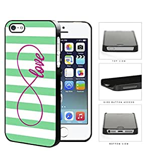 Teal Striped Love Infinity Symbol Hard Plastic Snap On Cell Phone Case Apple iPhone 5 5s