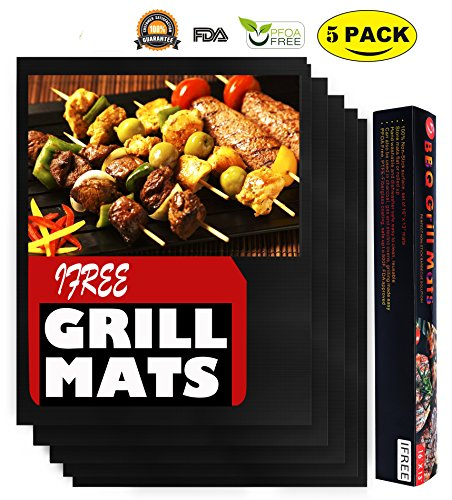 Grill Mat BBQ Accessories -Set of 5 Premium Non Stick BBQ Grill Mats - FDA-Approved, PFOA Free, Reusable and Easy to Clean - Extended Warranty (16 x 13 Inch)