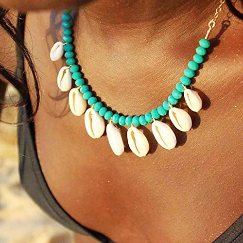 Zoestar Shell with Turquoise Pendant Necklaces Summer Beach Necklace Jewelry for Women and Girls ()