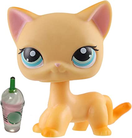 Amazon Com Emilys Doll Lps Short Hair Cat Yellow Blue Eyes 339 With Lps Accessories Coffee Drinks Kids Gift