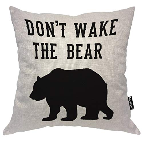 Moslion Throw Pillow Cover Don't Wake The Bear 18x18 Inch Portrait Cool Animal Funny Quote Black White Square Pillow Case Cushion Cover for Home Car Decorative Cotton Linen (Black Throws Bear)