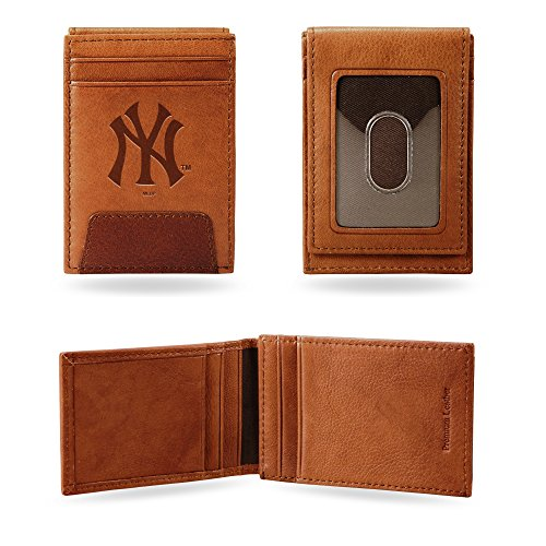 Rico Industries, Inc. New York Yankees Premium Brown Leather Money Clip Front Pocket Wallet Embossed ()