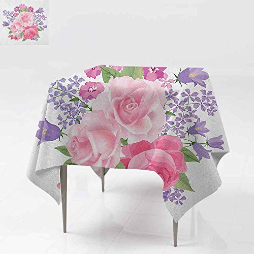 - DUCKIL Oil-Proof and Leak-Proof Tablecloth Bridal Bouquet with Booming Flowers Rose Lavender Violet Corsage W60 xL60 Pink Lavander Green
