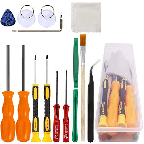 DanziX Triwing Screwdriver for Nintendo, Professional Security Game Bit Set of 11 Repair Tools for New 3DS/Wii/NES/SNES/DS Lite/GBA + 2 Suckers + 1 Tweezers + 1 Clean Cloth + 1 - Game Boy Nintendo Repair