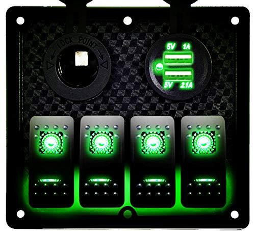 DCFlat 5 Pin 4 Gang / 6 Gang Car Marine Boat Circuit RV LED Rocker Switch Panel Breaker Voltmeter USB for RV Car Boat Blue / Red / Green Light (4 Gang Green)