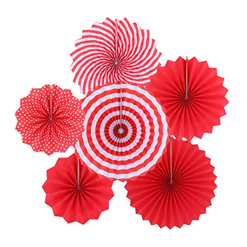 Event Accessories - Zilue Hanging Red Paper Fans Decoration Set for Wedding Birthday Party New Years Round Events Accessories Set of 6