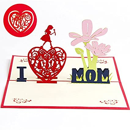 Amazon Mothers Day Greeting Card Welegant I Love Mom 3d Pop