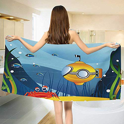 y Bath Towel,Illustration of a Submarine a Crab and Fish Under The Sea Print,Print Wrap Towels,Marigold and Blue Size: W 10
