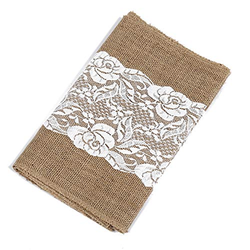 2 Pack Burlap Table Runner with Lace 12X108 Inch Natural Jute Hessian Burlap Roll Crafts Fabric Rolls with Sewn Edges for Country Rustic Party Wedding Decorations Farmhouse Kitchen Decor ()