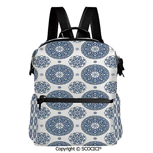 SCOCICI Medium Backpack for School&Travel,French Country Style Floral Circular Pattern Lace Ornamental Snowflake Design Print,L11.4xW6.3xH15 Inches