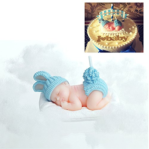 FLYPARTY Children's Birthday Candles with Greeting Card,Handmade Adorable Sleeping Baby Smokeless Baby Shower Baby Birthday Cake Topper Candle, Baby Shower Party Favors Decorations (1, Blue Boy)