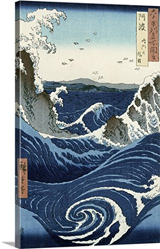 Utagawa Hiroshige Premium Outdoor Canvas Wall Art Print entitled View of the Naruto whirlpools at Awa, from the series Rokuju-yoshu Meisho zue