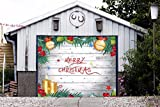 Merry Christmas Full Color for SINGLE CAR GARAGE Holiday Banner DOOR MURALS Covers Outdoor Decor Billboard 3D Effect Print Decorations of House Garage Door Cover Size 83 x 96 inches DAV66