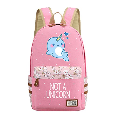 Kid's Girls Floral Animal Cartoon Funny School Backpack Unicorn Whale Travel Shoulder Bag (Girl Cute Animal)
