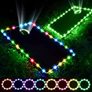 Panapo Set of 2 Cornhole Lights, 16 Colors Changing Cornhole Board Hole and Edge Lights with Remote Controlled