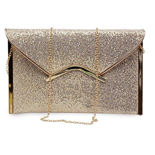 Handbag Wedding Party Prom Purse Envelope Wallet Evening Felice Sequins Glitter Gold Clutch pwA8XTq