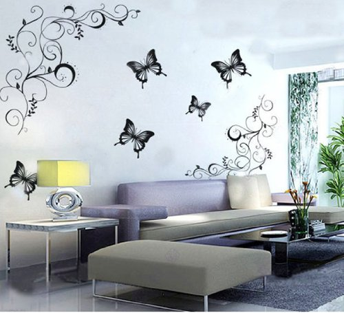 Butterfly Feifei Wisteria Flowers Vine Art Vinyl Wall Decal Stickers Home Decor