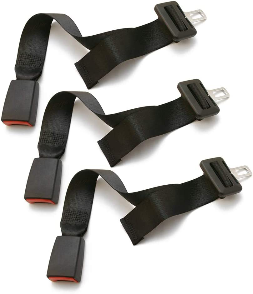 Seat Belt Extender Pros E4 Safe Certified Adjustable 9-26 Inch Seat Belt Extender 3-Pack Black 7//8 Inch Metal Tongue, Type A Drive Safely and Buckle Again