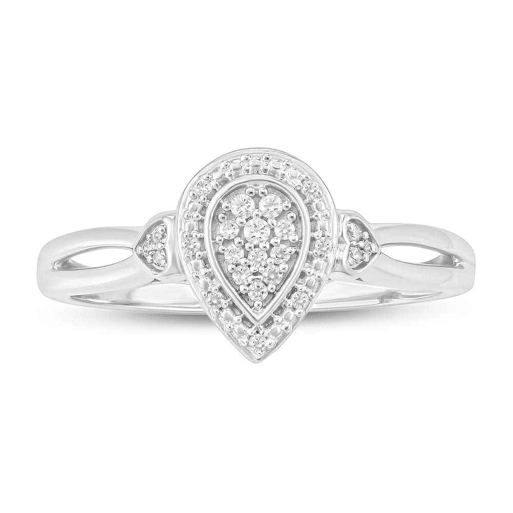 Tesero Mio Sterling Silver 1/10 Carat Round Cut (I-J Color, I2-I3 Clarity) Natural Diamond Promise Ring for Her, US Size 7