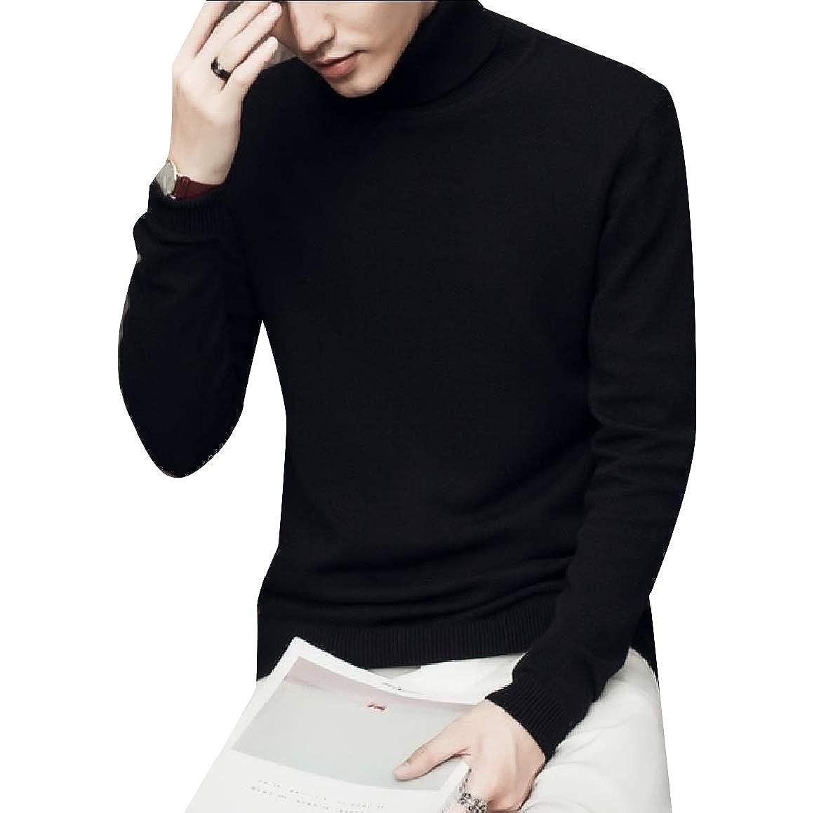 YUNY Men Warm Solid Regular-Fit Knit Turtleneck Comfy Sweater Pullover Black M