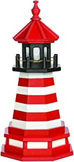 product image for DutchCrafters Decorative Lighthouse with Base - Wood, West Quoddy Maine Style (Red/Black/White, 2)