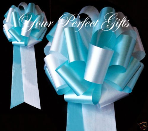 10 TEAL BLUE WHITE WEDDING 9'' PEW BOW BRIDAL DECORATION by your_perfect_gifts (Image #1)