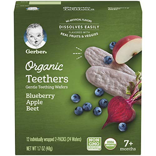 Gerber Organic Teethers Gentle Teething Wafers Blueberry Apple Beet, 1.7 oz