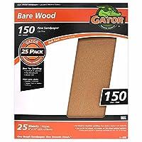 "Gator Finishing 4225 150 Grit Bare Wood Sanding Sheets (25 pack), 9"" x 11"""