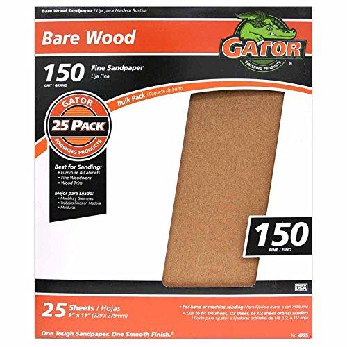 Gator Finishing 4225 150 Grit Bare Wood Sanding Sheets (25 pack), 9