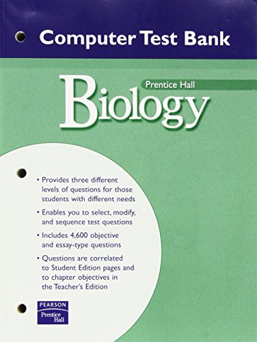 PRENTICE HALL MILLER LEVINE BIOLOGY COMPUTER TEST BANK WITH CDROM 2004