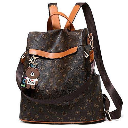 (Women Backpack Purse Nylon Anti-theft Waterproof Casual Rucksack Lightweight School Shoulder Bag, Bear Brown )