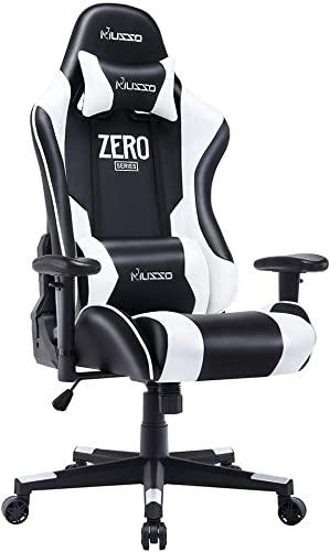 Musso Ergonomic White Gaming Chair Adjustable Esports Gamer Chair, Adults Racing Video Game Chair, Large Size PU Leather High-Back Executive Office Chair